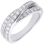 Ring Saturnus Diamant - wit goud - 29 diamanten - 9 karaat