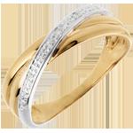 Ring Saturnus - Duo variatie - geel goud - 4 diamanten
