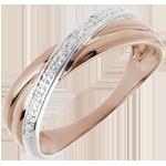 Ring Saturnus Duo variatie - roze goud - 4 diamanten