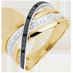 Ring Saturnus Vierling - geel goud - zwarte en witte diamanten - 9 karaat