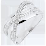 Ring Saturnus Vierling - wit goud - diamanten - 9 karaat