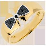 Geschenk Frau Ring Schleife Amelia in Gelbgold mit schwarzen Diamanten