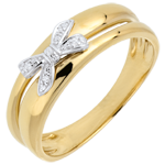 Goldschmuck Ring Schleife mit Liebe zu Gelbgold