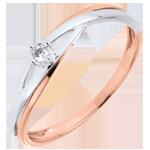 koop Ring solitair Diamant Nid Précieux - Dova - Roze Goud en Wit Goud - 9 karaat