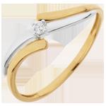 Ring Solitair Nid Précieux - Evasion - wit en geel goud - 0.04 karaat Diamant