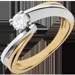 Ring Solitaire Liefdesnest - gloeidraad - 18 karaat witgoud en geelgoud - 0.26 karaat