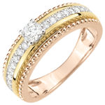 Ring Solitaire - Salty Flower - two rings - 3 golds - 0.378 carat