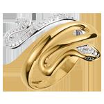 Geschenke Frau Ring Spaziergang der Sinne - Bedrohliche Kostbarkeitkeit - Zweierlei Gold und Diamanten - 9 Karat