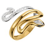 Geschenk Frauen Ring Spaziergang der Sinne - Bedrohliche Kostbarkeitkeit - Zweierlei Gold und Diamanten