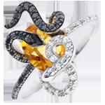Geschenk Ring Spaziergang der Sinne - Gorgonia - Silber, Diamanten und Halbedelsteine