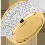 gouden juweel Ring Sterrenbeeld - Hemels Landschap - geel goud geplaveid - 2,05 karaat - 79 diamanten