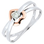 on-line buy Ring Swinging Heart - Pink gold and white gold