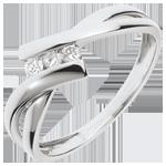 Ring Trilogie Nid Précieux - wit goud - 3 diamanten