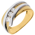 buy Ring Trilogy Precious Nest - Priscilla - yellow gold and white gold - 0.31 carat - 3 diamonds - 18 carats