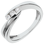 Ring Trilogy Precious Nest - Ritournelle - white gold - 3 diamonds - 18 carat