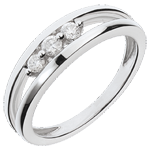 koop Ring Trilogy stuk, Wit Goud - 3 Diamanten