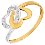 Frau Ring Verbundenheit Zweier Herzen Bicolor