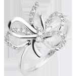 Geschenk Frau Ring Verspielte Schleife - Silber und Diamanten