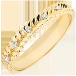 Geschenk Frauen Ring Verzauberter Garten - Diamant Flechtwerk - Gelbgold - 18 Karat