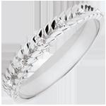 Geschenk Frau Ring Verzauberter Garten - Diamant Flechtwerk - Weißgold - 9 Karat