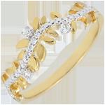 Hochzeit Ring Verzauberter Garten - Königliches Blattwerk - Diamant und Gelbgold - 18 Karat