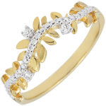 Online Verkauf Ring Verzauberter Garten - Königliches Blattwerk - Diamant und Gelbgold - 9 Karat