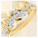 Geschenk Frau Ring Verzauberter Garten - Königliches Blattwerk - Großes Modell - Gelbgold und Diamanten - 9 Karat