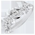 Geschenk Frau Ring Verzauberter Garten - Königliches Blattwerk - Großes Modell - Weißgold und Diamanten - 18 Karat