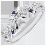 Juwelier Ring Verzauberter Garten - Königliches Blattwerk - Weißgold, Diamanten und Saphire - 18 Karat