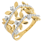 Geschenk Ring Verzauberter Garten - Zweifach Königliches Blattwerk - Gelbgold und Diamanten - 9 Karat