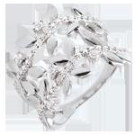 Geschenke Ring Verzauberter Garten - Zweifach Königliches Blattwerk - Weißgold und Diamanten - 18 Karat