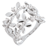 Geschenke Frau Ring Verzauberter Garten - Zweifach Königliches Blattwerk - Weißgold und Diamanten - 9 Karat