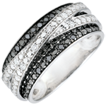 Ring white gold and black diamonds Clair Obscure - Shadow - 18 carat