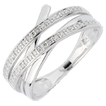Geschenk Frau Ring Wirbel - Weißgold mit 6 Diamanten