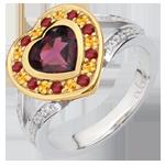 Frau Ring Wunderbares Herz - Silber, Diamanten und Halbedelsteine
