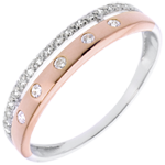 Geschenk Frauen Ring Zauberwelt - Sternkrönchen - Kleines Modell - Rot- und Weißgold - 22 Diamanten