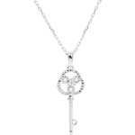 sell Rose and White Gold Diamond Eternity Key Pendant with a white gold chain