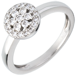 gift woman Rosette white gold paved ring - 0.26 carat