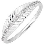 Royal Palm ring - 9K white gold and diamonds