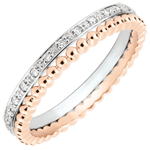 present Salty Flower Ring - double row - diamonds - 9 carat pink and white gold