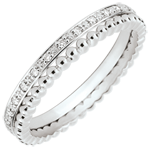 present Salty Flower Ring - double row - diamonds - 9 carat white gold