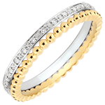 wedding Salty Flower Ring - double row - diamonds - 9 carat yellow gold and white gold