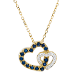 Sapphire Heart and Diamond Heart Necklace