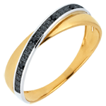 Saturn Duo Wedding Ring - black diamonds and Yellow gold - 18 carat
