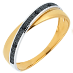 gift woman Saturn Duo Wedding Ring - black diamonds and Yellow gold - 9 carat
