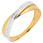 gifts woman Saturn Duo Wedding Ring - diamonds - Yellow and White gold - 18 carat