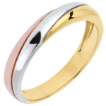 Saturn Trilogy Wedding Ring - three golds - 18 carat