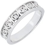 Secret Love Wedding Band with 9 Diamonds - 18 carats