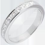 gift women Semi-paved wedding ring white gold channel setting - 0.8 carat - 10 diamonds