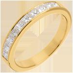 Semi-paved wedding ring yellow gold channel setting - 0.7 carat - 10 diamonds